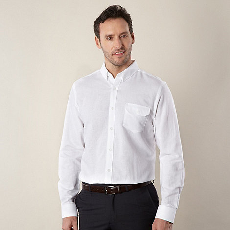 Jeff Banks - Big and tall designer white linen blend shirt