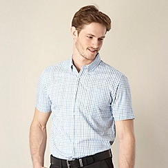 Jeff Banks - Big and tall designer aqua highlighted check shirt