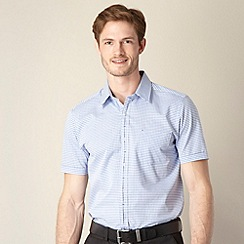 Jeff Banks - Big and tall designer blue two tone gingham shirt