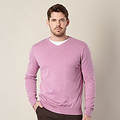 Jeff Banks - Big & Tall designer pink marled v neck jumper