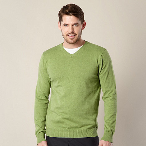 Jeff Banks - Designer green marled V neck jumper