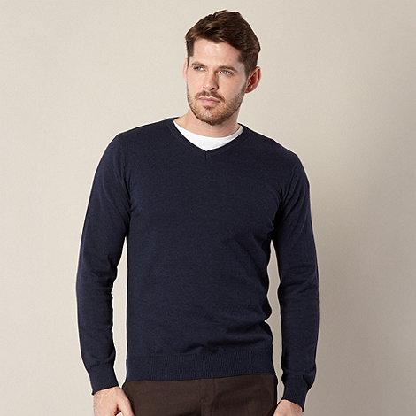 Jeff Banks - Designer navy marled V neck jumper