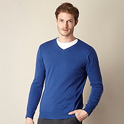 Jeff Banks - Big & Tall designer blue marled v neck jumper