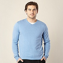 Jeff Banks - Big & Tall designer pale blue marled v neck jumper