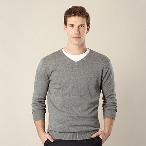 Jeff Banks - Big and tall designer grey marled v neck jumper