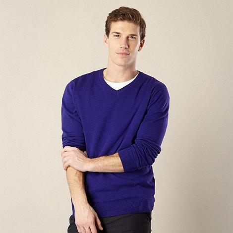 Jeff Banks - Designer purple V neck jumper