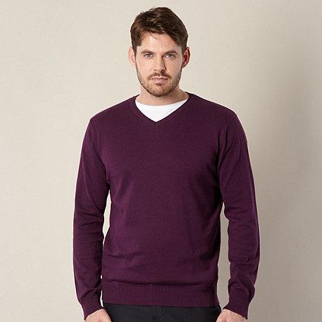 Jeff Banks - Designer dark purple V neck jumper
