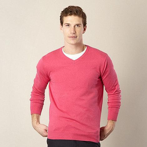 Jeff Banks - Big and tall designer pink marled v neck jumper