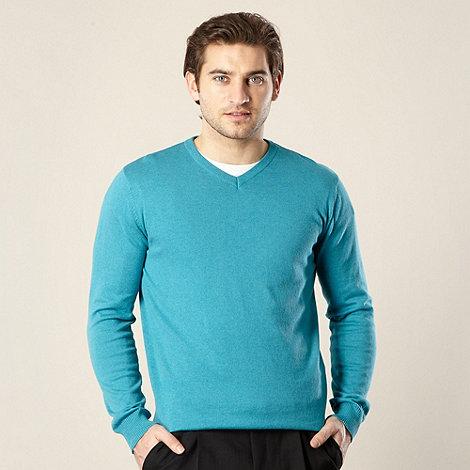 Jeff Banks - Designer turquoise marled V neck jumper