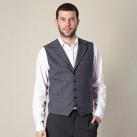 Jeff Banks - Designer blue checked wool blend waistcoat