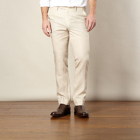 Jeff Banks - Big and tall designer natural linen trousers