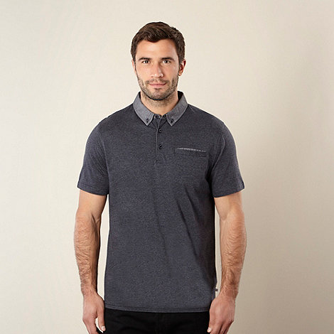 Jeff Banks - Designer navy striped chambray collar polo shirt