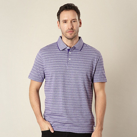 Jeff Banks - Designer lilac self striped pique polo shirt