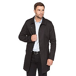 Jeff Banks - Designer black cotton twill mac coat