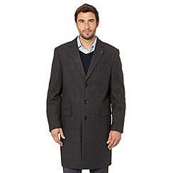 Jeff Banks - Big and tall designer grey wool blend overcoat