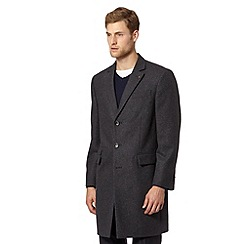 Jeff Banks - Big and tall designer dark grey wool blend overcoat