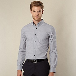 Jeff Banks - Big and tall designer grey mini jacquard shirt