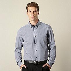 Jeff Banks - Big and tall designer navy mini gingham shirt