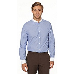 Jeff Banks - Big and tall designer blue fine striped grandad shirt