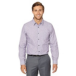 Jeff Banks - Big and tall designer lilac stripe and sprig print shirt