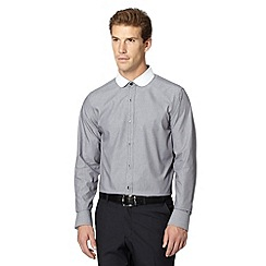 Jeff Banks - Big and tall designer grey striped penny collar shirt