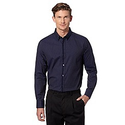 Jeff Banks - Big and tall designer navy sateen striped shirt