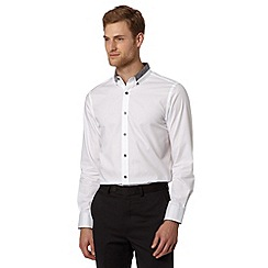 Jeff Banks - Big and tall designer white floral collar shirt