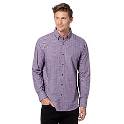 Jeff Banks - Big and tall designer purple flower print shirt