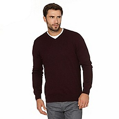 Jeff Banks - Big and tall designer wine V neck jumper