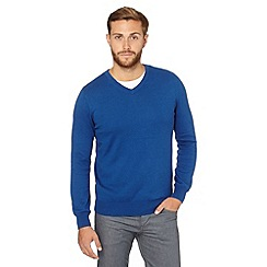 Jeff Banks - Big and tall designer mid blue cotton cashmere V neck jumper