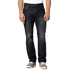 Jeff Banks - Designer dark blue vintage wash straight fit jeans