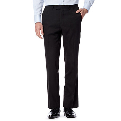Jeff Banks - Big and tall black semi-plain stripe trousers