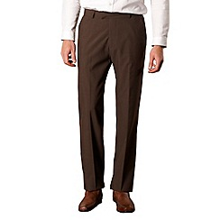 Jeff Banks - Big and tall dark brown wool blend trousers