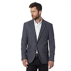 Jeff Banks - Big and tall designer blue wool herringbone blazer