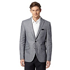 Jeff Banks - Big and tall designer blue linen blend blazer