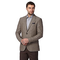 Jeff Banks - Big and tall designer brown linen blend blazer