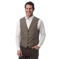 Jeff Banks - Big and tall designer brown linen blend waistcoat