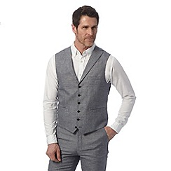 Jeff Banks - Big and tall designer blue sharkskin waistcoat