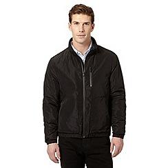 Jeff Banks - Designer black wool blend funnel neck harrington jacket