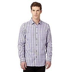 Jeff Banks - Big and tall designer purple multi checked shirt