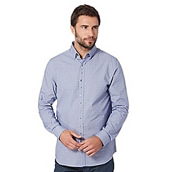 Jeff Banks - Big and tall designer navy micro check jacquard shirt