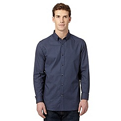 Jeff Banks - Big and tall designer navy polka dot print shirt