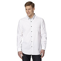 Jeff Banks - Big and tall designer white tile print collar shirt
