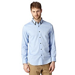 Jeff Banks - Big and tall designer light blue contrast placket shirt
