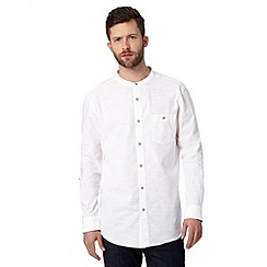 Jeff Banks - Big and tall designer white textured grandad shirt