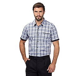 Jeff Banks - Big and tall designer purple short sleeved checked shirt
