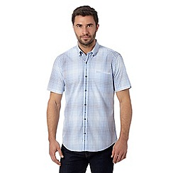 Jeff Banks - Big and tall designer blue checked short sleeved shirt