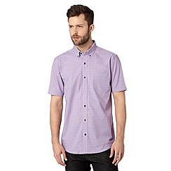 Jeff Banks - Big and tall designer purple short sleeved micro checked shirt