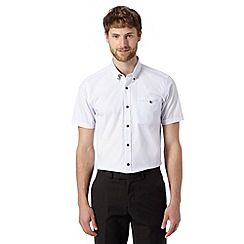 Jeff Banks - Big and tall designer white striped jacquard shirt