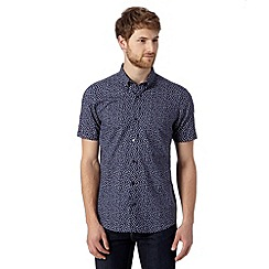 Jeff Banks - Big and tall designer navy mini floral shirt